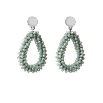 Biba oorbellen licht groen drops beads