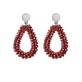 Biba oorbellen donker-rood drops beads