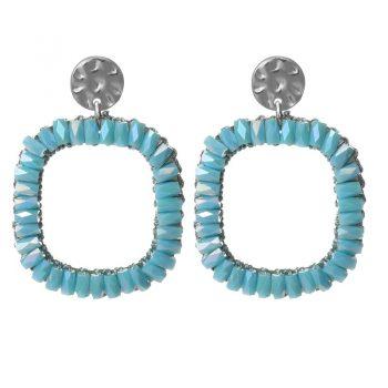 Biba oorbellen aqua blauw crystal vierkant