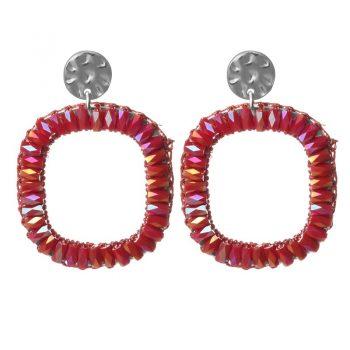 Biba oorbellen rood roze crystal vierkant
