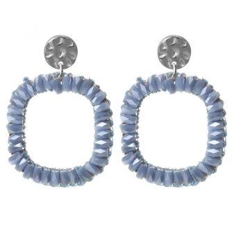 Biba oorbellen vierkant licht-blauw 80959mix12