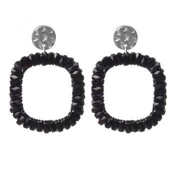 Biba oorbellen zwart crystal vierkant