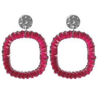 Biba oorbellen roze crystal vierkant