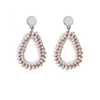Biba oorbellen beige drops beads
