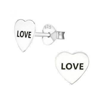"""Oorstekers hart """"LOVE"""" sterling zilver 925"""