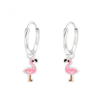 Kinderoorringen zilver flamingo
