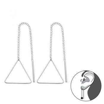 Doortrekoorbellen zilver driehoek sterling zilver