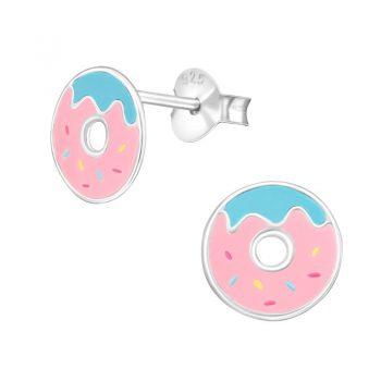 Zilveren kinderoorbellen donuts
