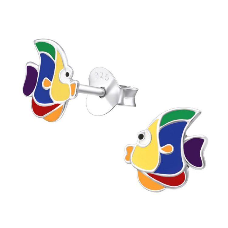 ZZilveren kinderoorbellen kleurrijke vis