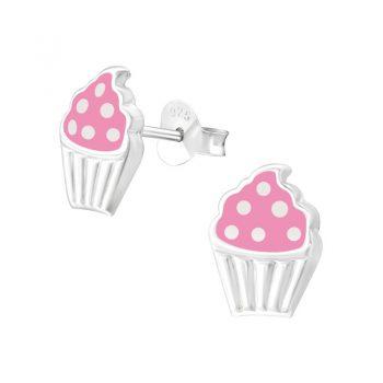Kinderoorbellen cupcake roze met witte stippen