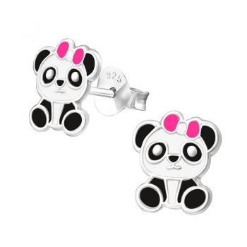Oorbellen rond panda beren met roze strik