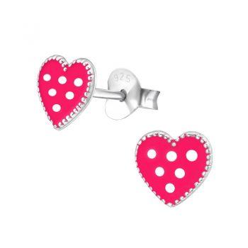 Oorstekers zilver gestippelde roze hartjes