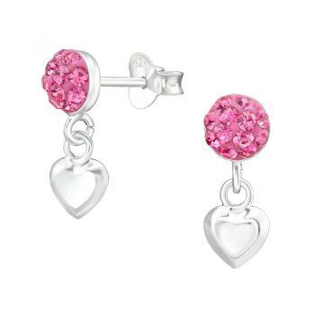 Ronde oorsteker met hartje-roze