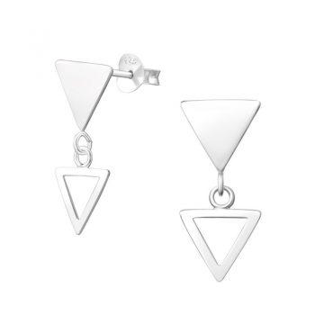 Zilveren oorbellen open driehoek gesloten driehoek