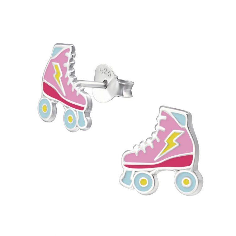Zilveren oorbellen rolschaatsen pastel kleuren