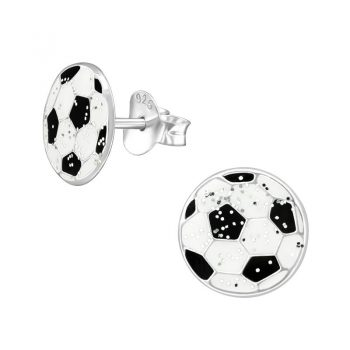 Zilveren kinderoorbellen voetbal zwart wit glitter