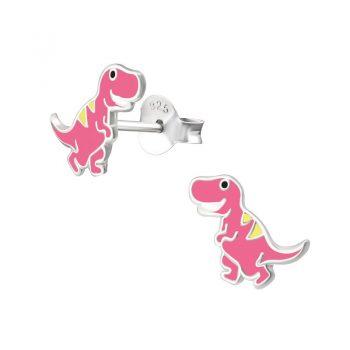 Zilveren kinderoorbellen dinosaurus roze