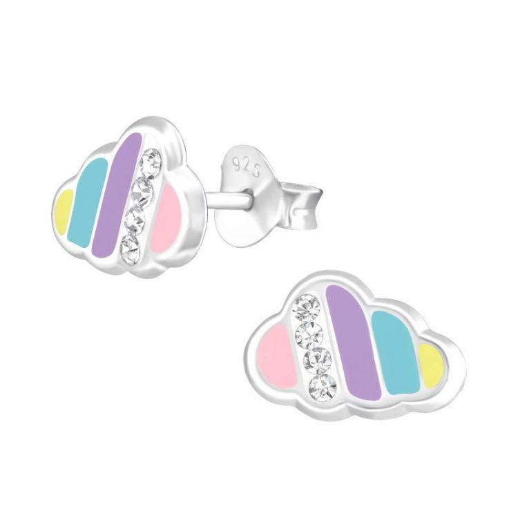 Wolk oorbellen met kristallen steentjes