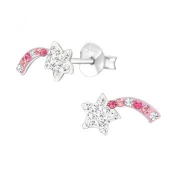 Vallende ster oorbellen roze - crystal