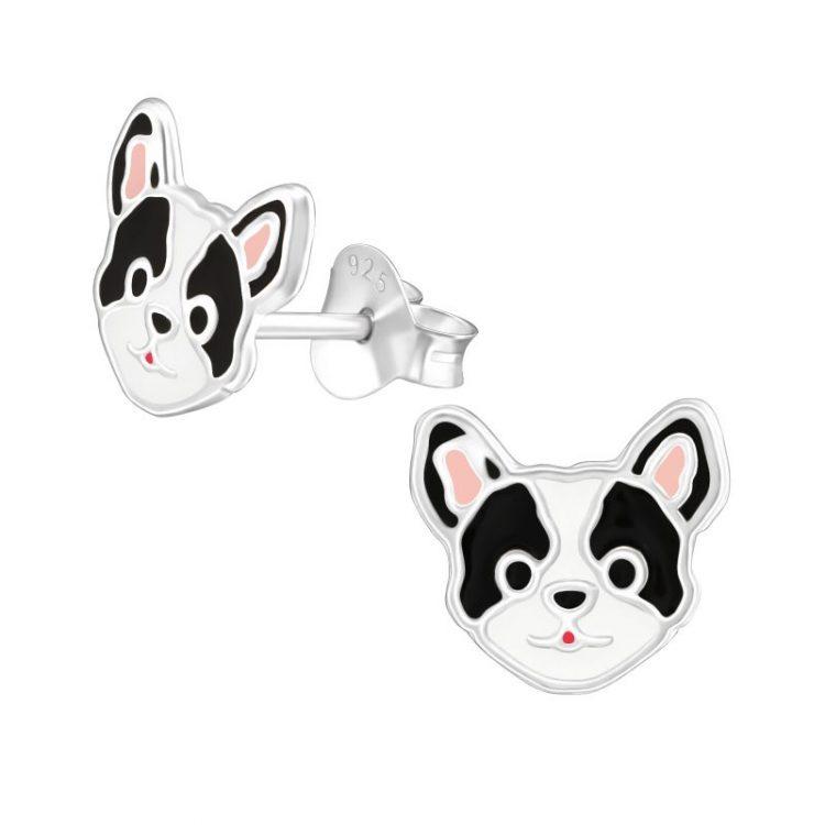 Zilveren kinderoorbellen hondenkop zwart-wit
