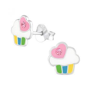 Kinderoorbellen zilveren cupcake met hartje met steentje