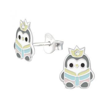 Kinderoorbellen pinguïn zilver met kristal met pastel kleuren