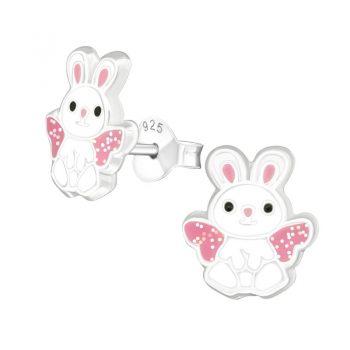 Kinderoorbellen konijntjes zilver met glitter