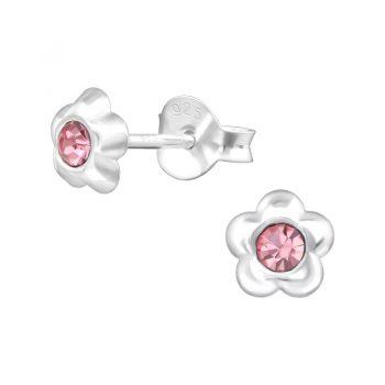 Oorbellen zilveren bloemetjes roze-steentje