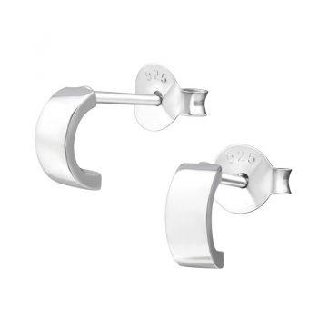 Zilveren oorbellen halve hoepel