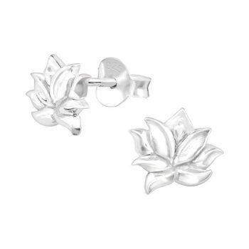 Lotus oorbellen sterling zilver