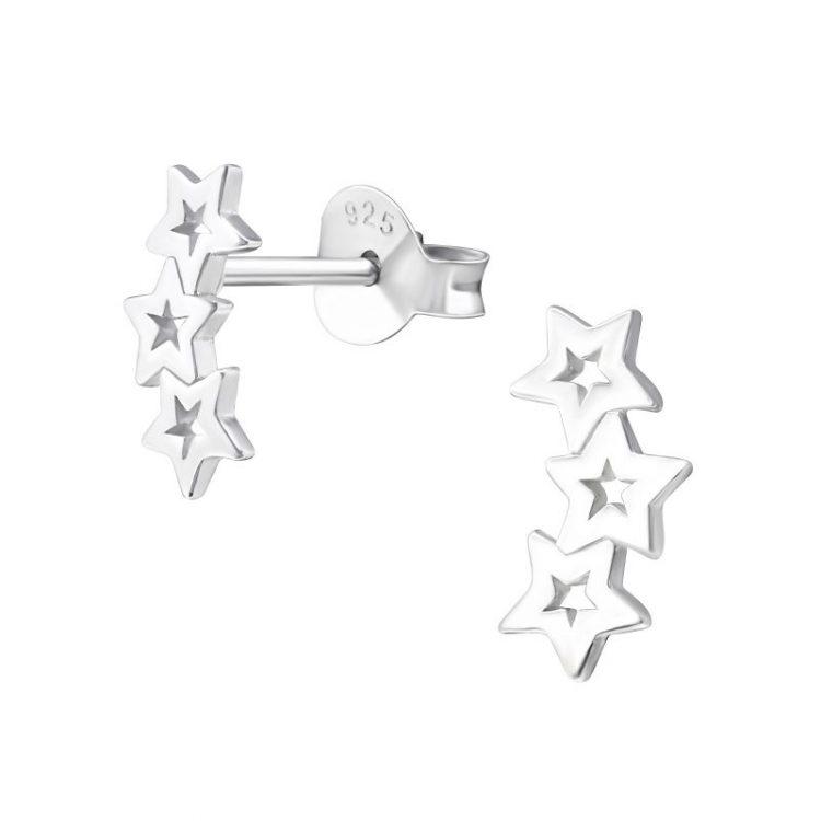 Oorbellen zilver met 3 open sterretjes