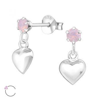 Ronde oorsteker met hartje-roze Swarovski steentje