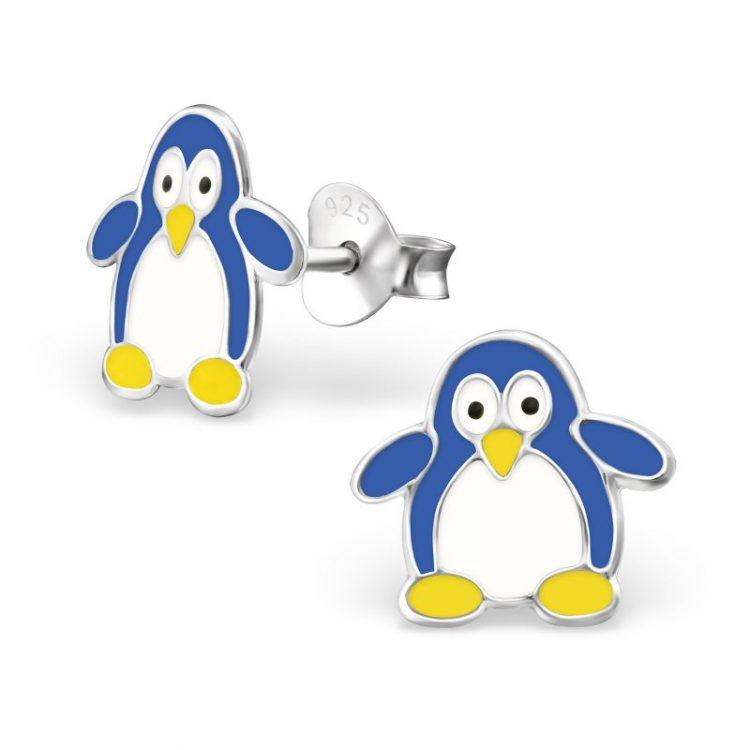 Oorbellen zilver pinguïn blauw-wit