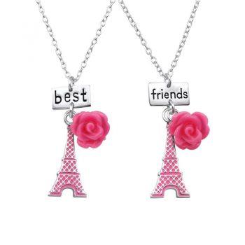 Eiffeltoren met bloemBFF kettinkjes -sterling zilver