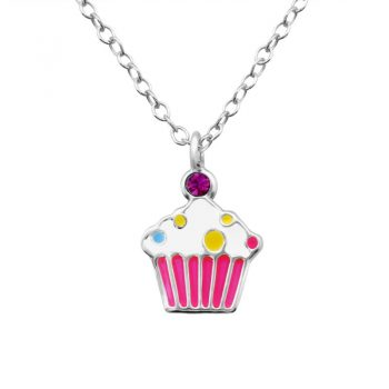 Cupcake zilveren kinderketting