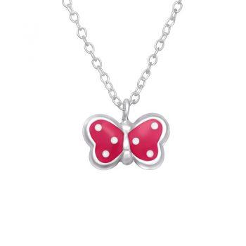 Vlinder roze met stippen zilveren kinderketting