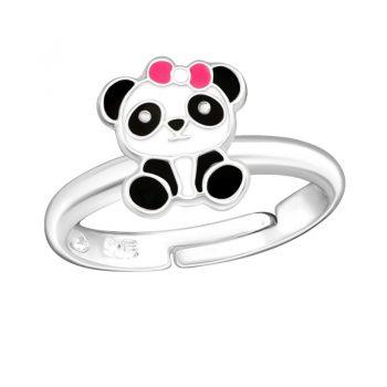 Zilveren kinderring met panda beer met strik