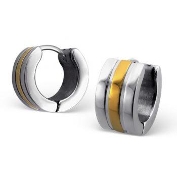 RVS oorbellen - klapcreolen zilver- & goudkleurige streep