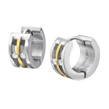 RVS oorbellen - klap creolen zilverkleurig & goudkleurige streep