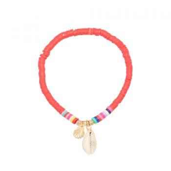 rode armband met schelp