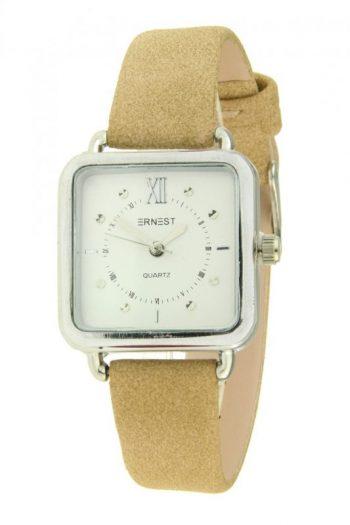 vierkant horloge merk Ernest beige kleur band