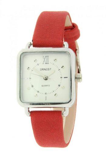 Ernest horloge vierkantbrick-rood