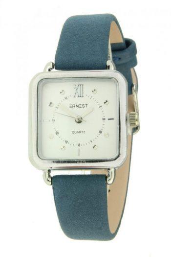 Ernest horloge vierkantdonker blauw