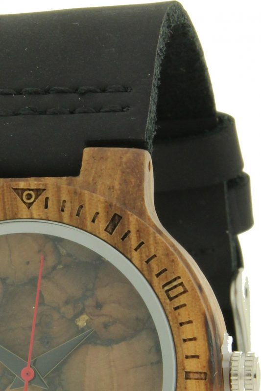 Ernest houten horloge-zwarte band 36 mm