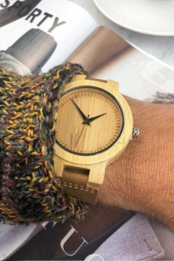 Ernest houten horloge-lederen band 45mm
