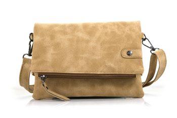 heuptas - schoudertas met klep camel licht bruin