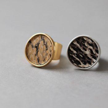 Biba verstelbare ring met leopardprint