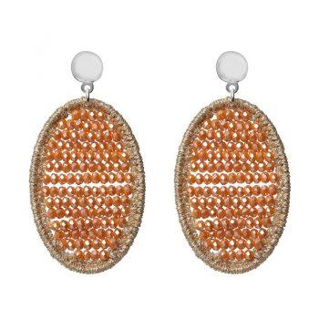 Biba oorbellen ovaal met crystal kraaltjes-oranje