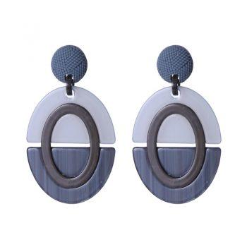 Biba oorbellen ovaal acryl blauw