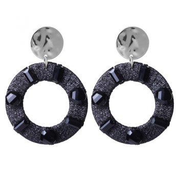 Biba oorbellen rond hanger met crystal kraal - zwart